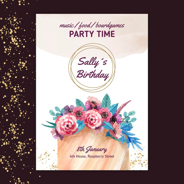 Free Vector Birthday Card With Flowers