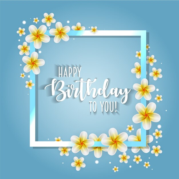 Birthday Card With Frame Decorated With Flowers Vector Premium