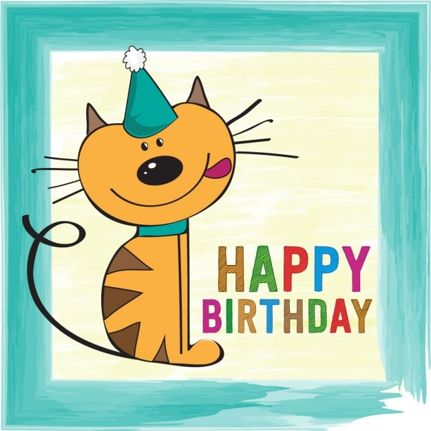 Birthday Card With Funny Cat Vector Free Download