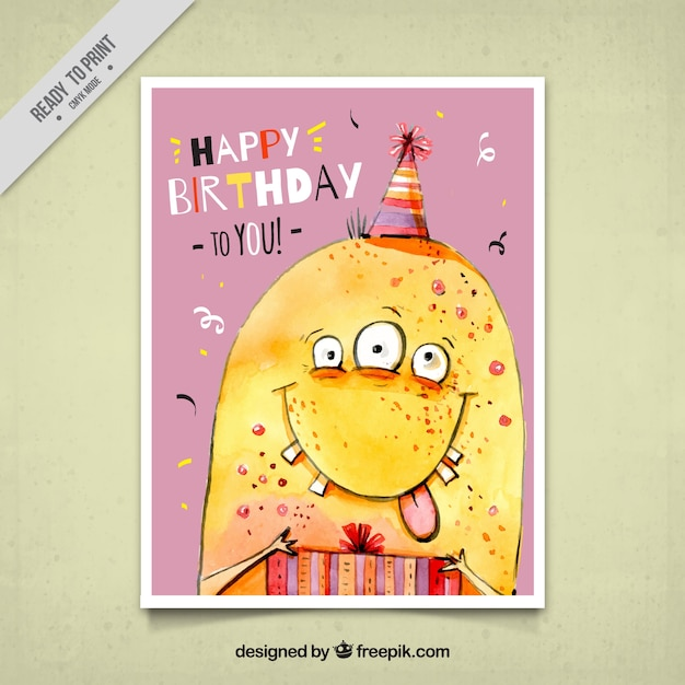 Birthday Card With Funny Monster Vector