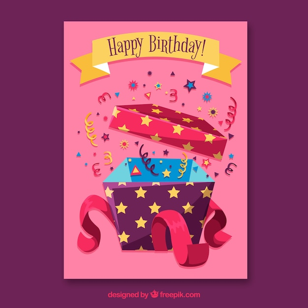 Birthday card with gift box in hand drawn style Free Vector