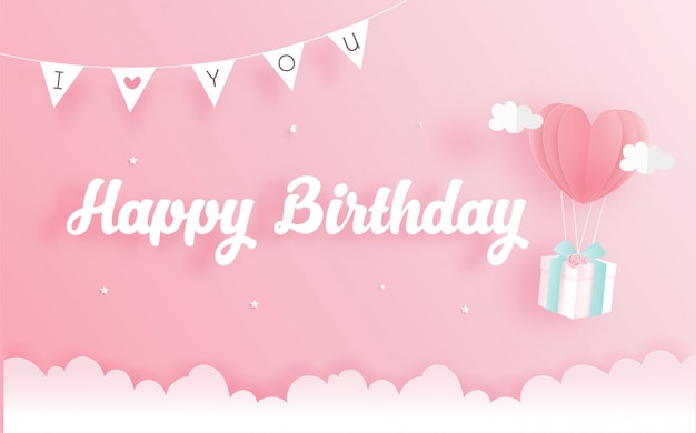 Birthday card with gift box in paper cut style. vector illustration Premium Vector