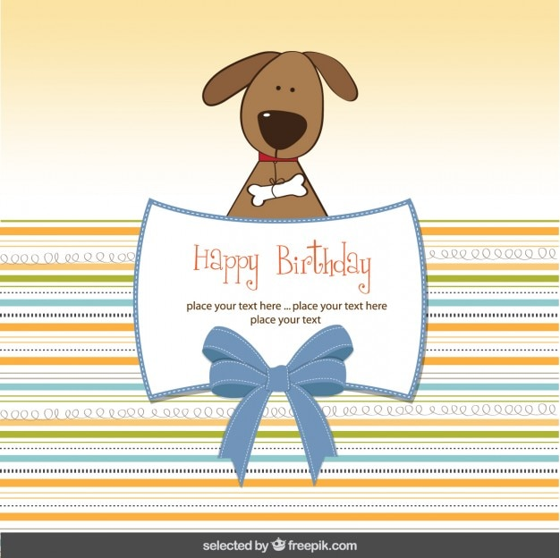 Birthday card with lovely dog Vector – Birthday Card for Dog