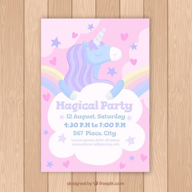 Birthday card with magical unicorn