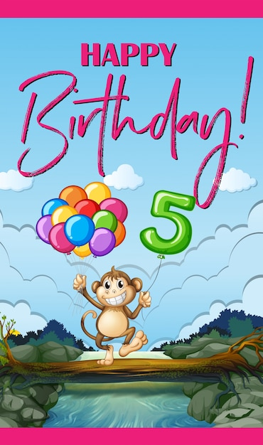 Birthday card with monkey and balloons Free Vector