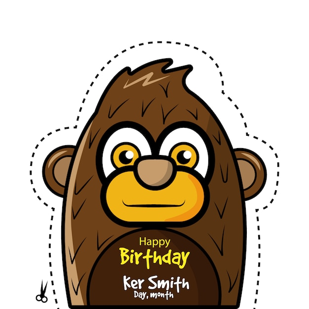Birthday Card With Monkey Design Vector Free Download