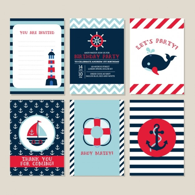Birthday card with nautical elements Free Vector