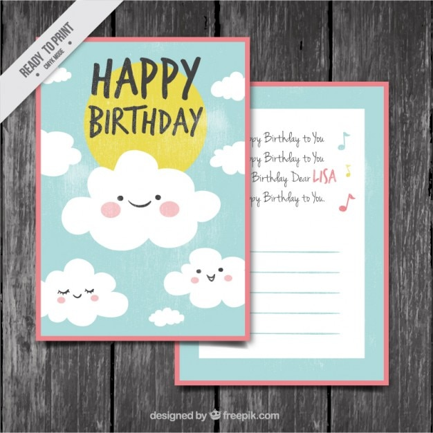 Birthday card with nice clouds Free Vector