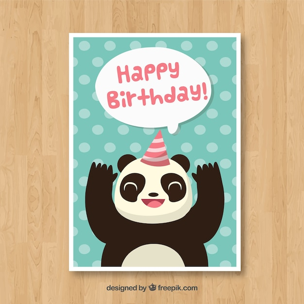 Birthday card with panda bear in flat style vector free download birthday card with panda bear in flat style free vector bookmarktalkfo Choice Image