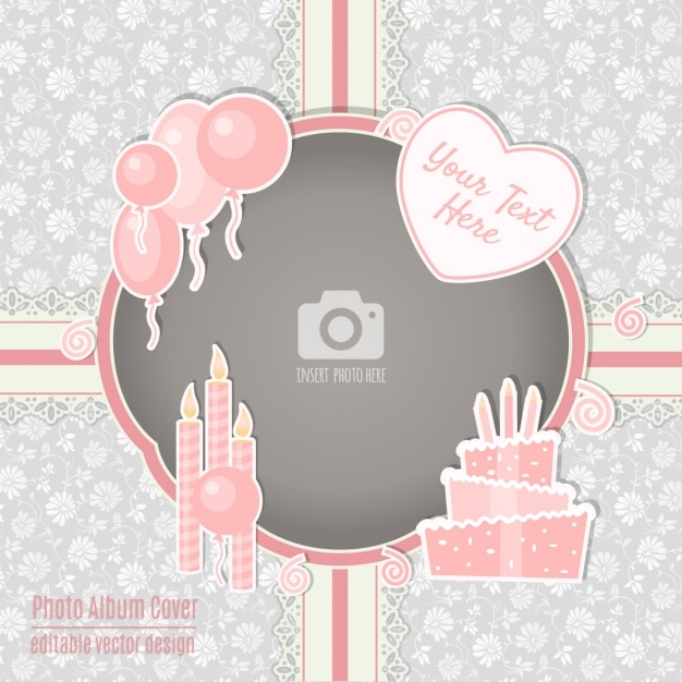 Birthday Card With A Pink Frame Free Vector