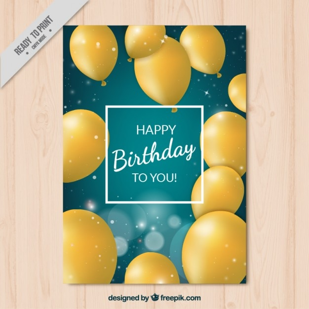 Birthday card with realistic yellow\ ballons