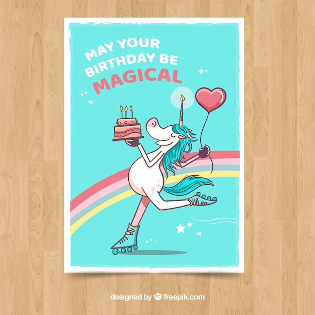 Birthday card with smiley unicorn skating Free Vector