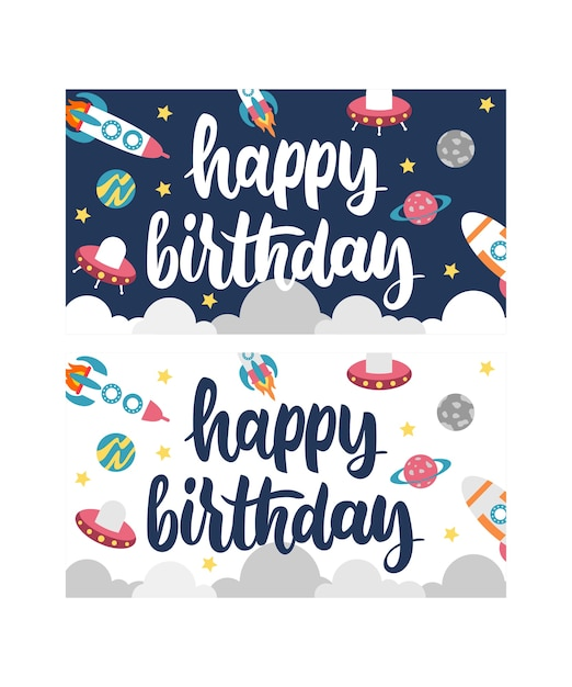 Birthday Card With Space Object Vector Premium Download