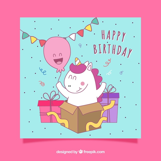Birthday Card With Stripes And A Funny Hand Drawn Unicorn Vector