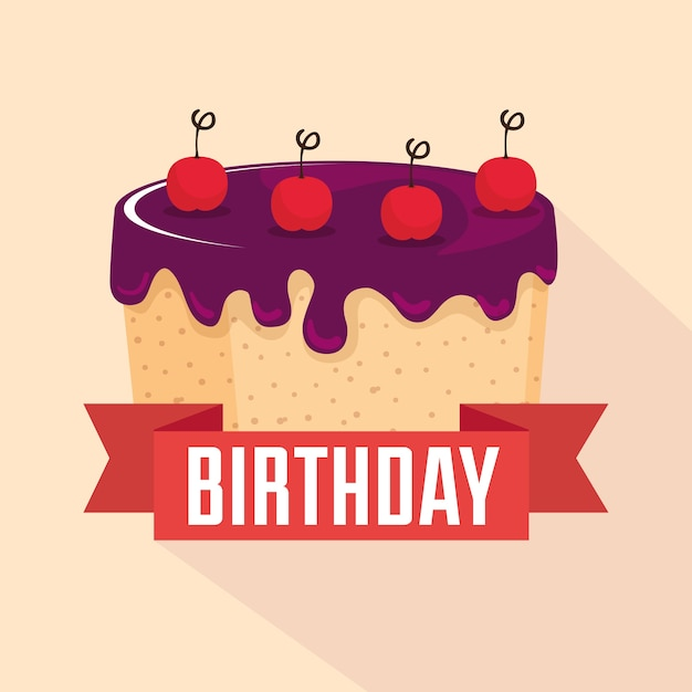 Birthday Card With Sweet Cake And Ribbon Frame Vector Premium Download