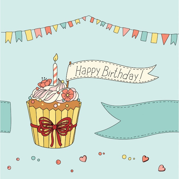 Birthday card with sweet cupcake and place for your text Premium Vector