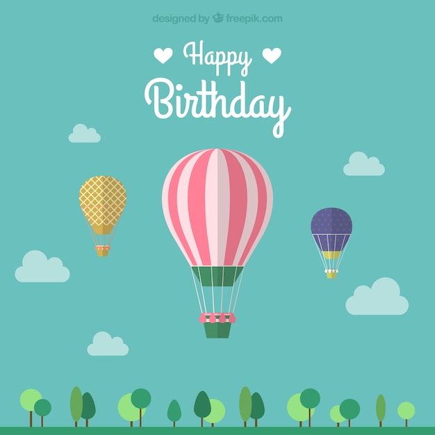 Birthday card with three hot air balloons Free Vector