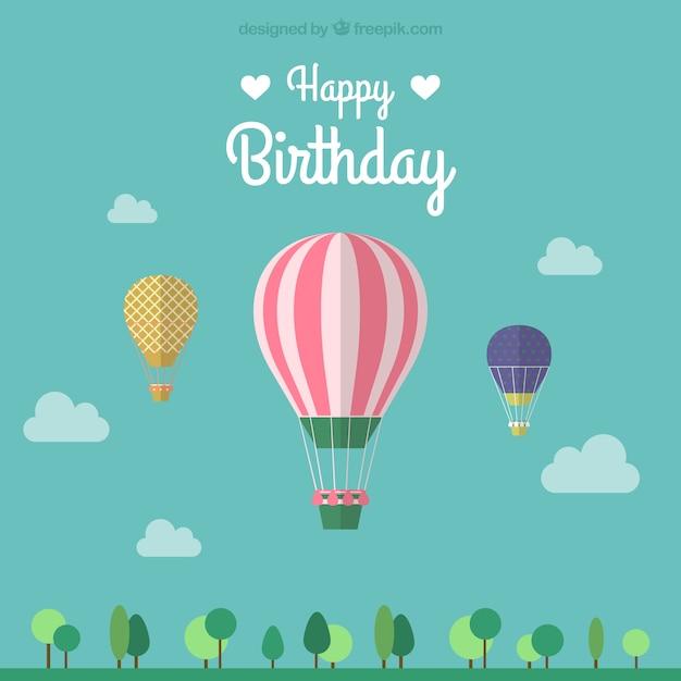 Birthday card with three hot air balloons Free Vector