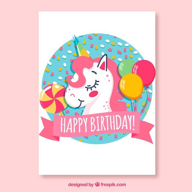 Birthday Card With Unicorn And Balloons Vector