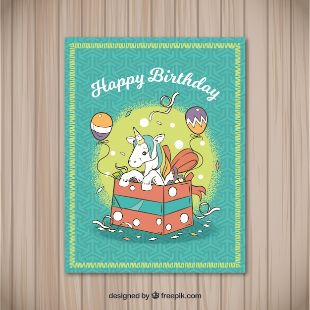 Birthday Card With Unicorn In A Gift Box Free Vector