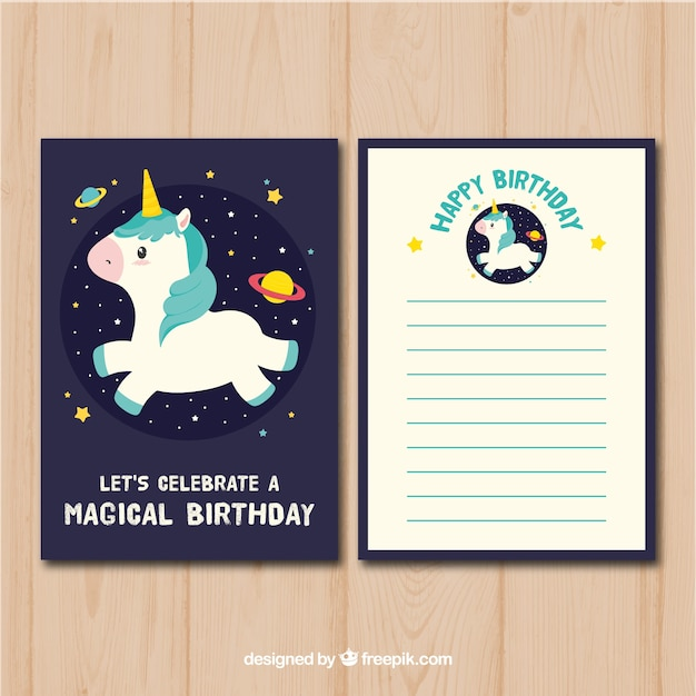Birthday Card With Unicorn In Space Vector Free Download