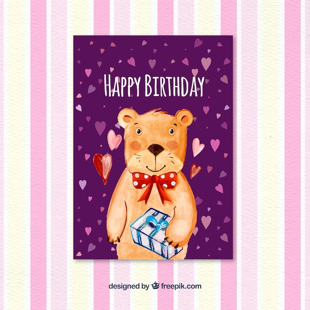 Birthday card with watercolor bear