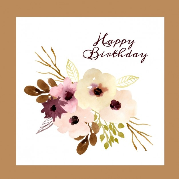 birthday card with watercolor flowers vector  free download, Birthday card