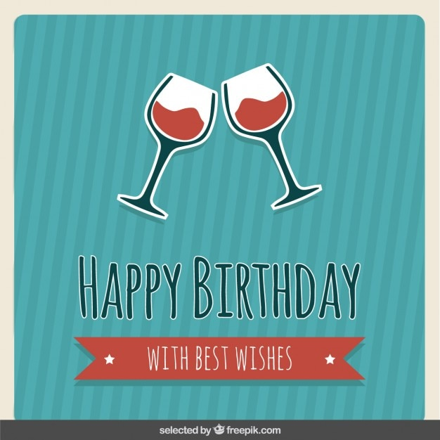 Birthday Card With Wine Glasses Free Vector