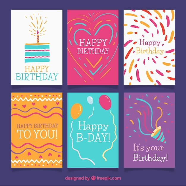 Birthday cards collection in flat style