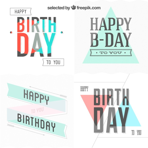 Birthday Cards Collection In Hipster Style Vector Free Download