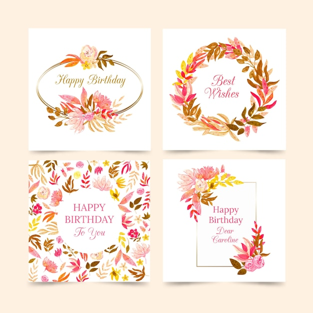 Birthday cards collection with flowers collection Free Vector