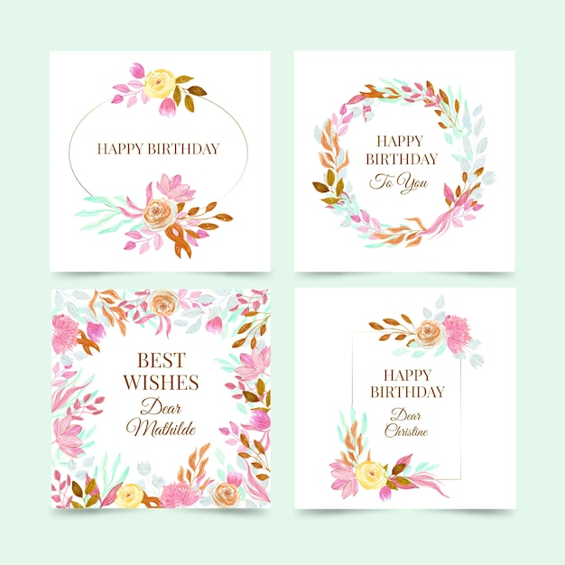Birthday cards collection with flowers set Free Vector