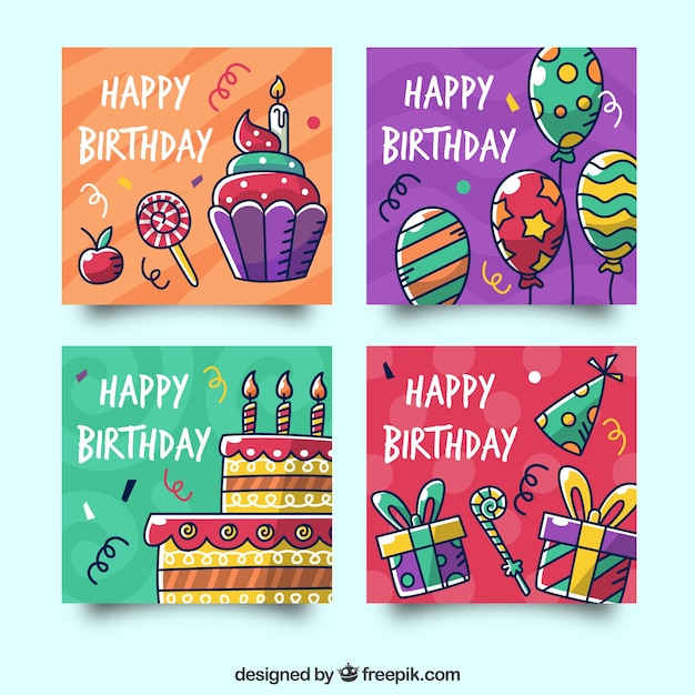 Birthday cards collection with party elements Free Vector
