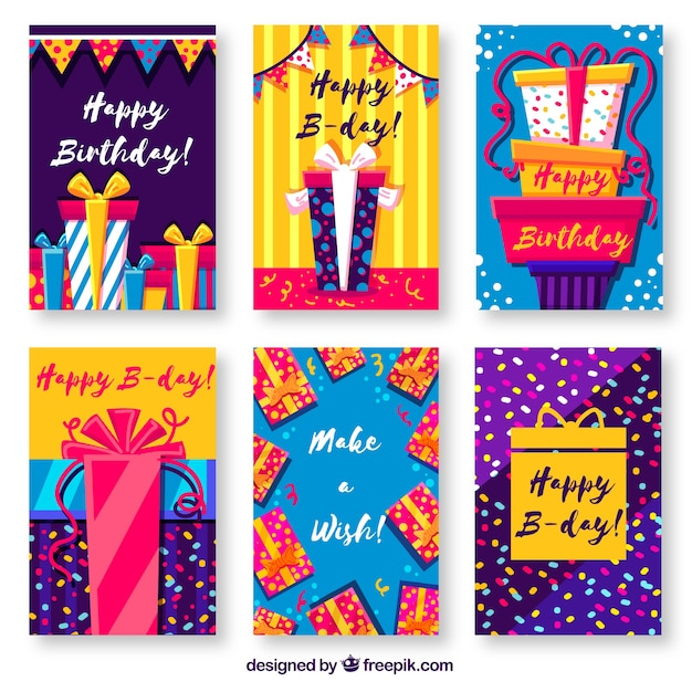 Birthday cards collection Free Vector