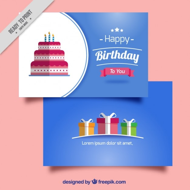 Birthday Cards In Flat Design Vector Free Download