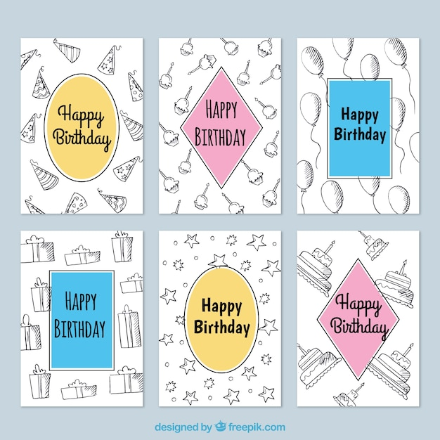 Birthday Cards Pack With Sketches Vector Free Download