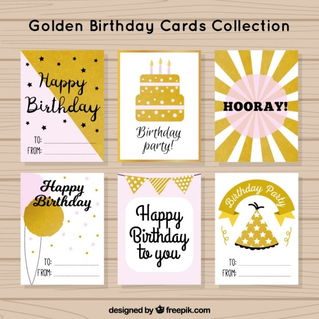 Birthday cards, pink and gold Free Vector