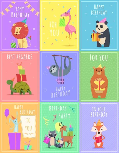 動物の誕生日カード。ギフトのお祝いの色のカードで野生動物シマウマカメライオンと猿のキャラクター Premiumベクター