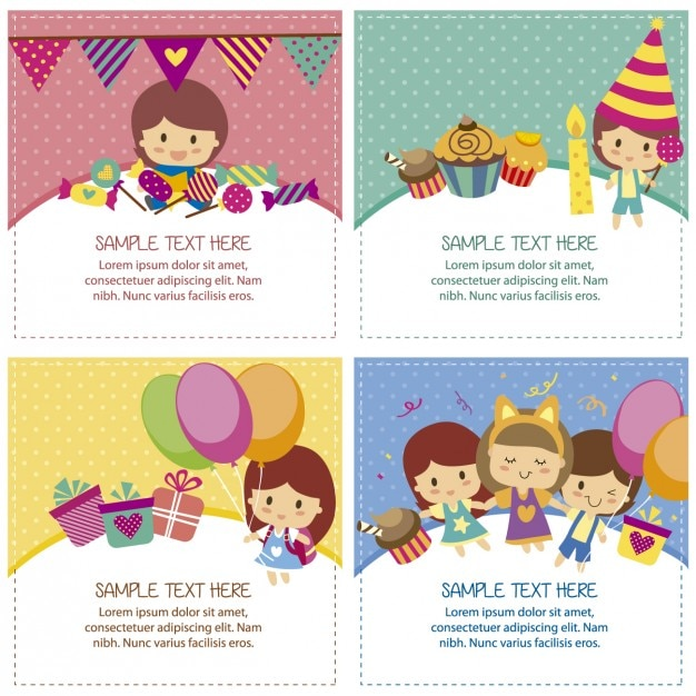 Birthday cards with cute children Free Vector
