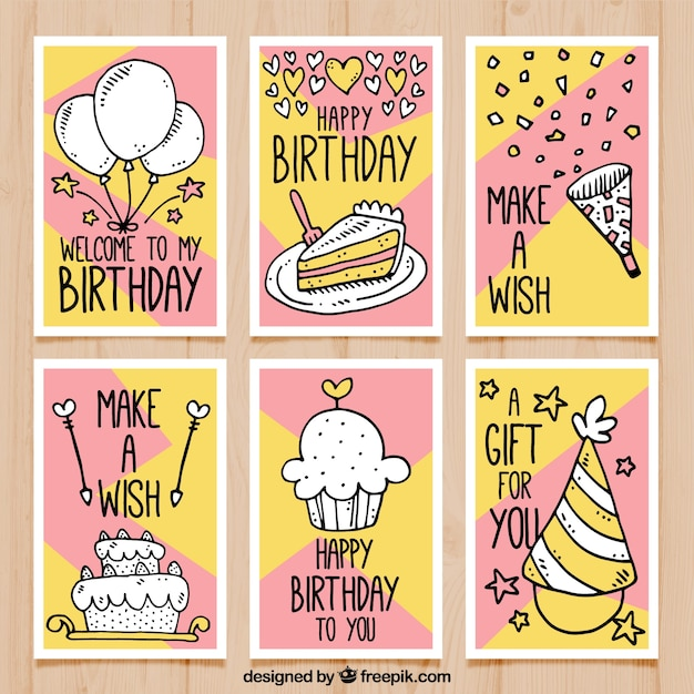 Birthday cards with drawings vector free download birthday cards with drawings free vector bookmarktalkfo Images