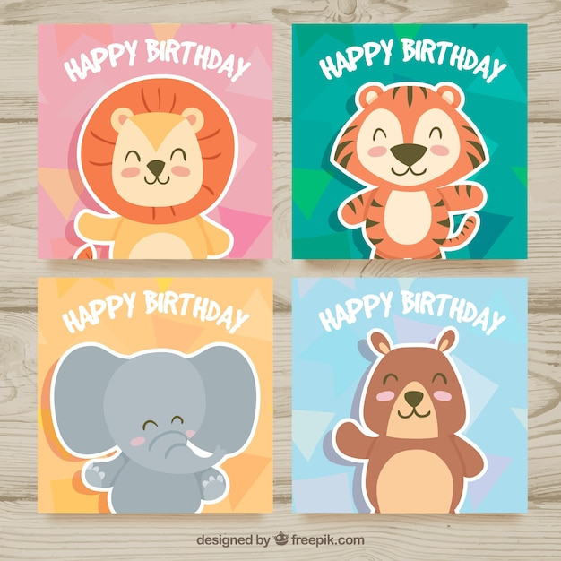 Birthday Cards With Funny Animals Free Vector
