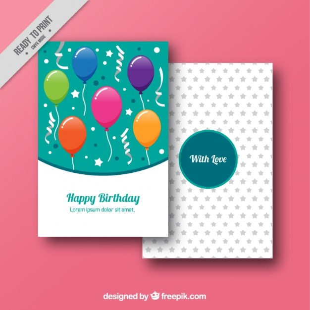 Birthday cards with hand drawn balloons