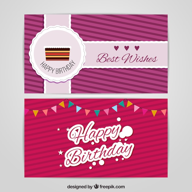 Birthday Cards With Striped Background Vector Free Download