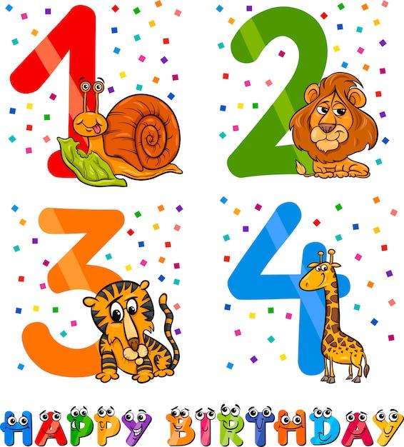 Дизайн мультфильма дня рождения Premium векторы