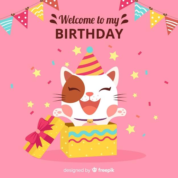 Birthday cat Free Vector