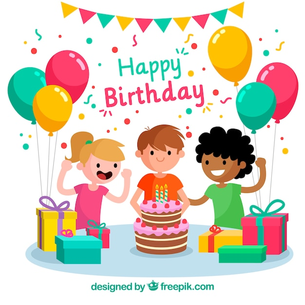 Birthday Celebration Background With Children Vector