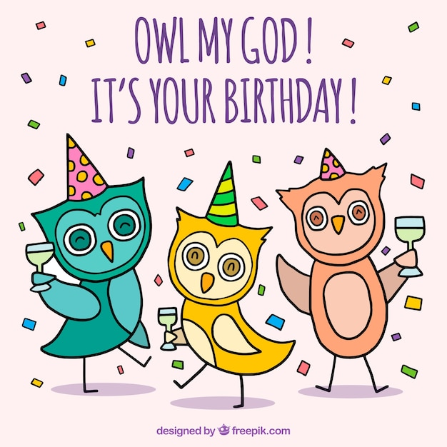 Birthday celebration background with owls Free Vector