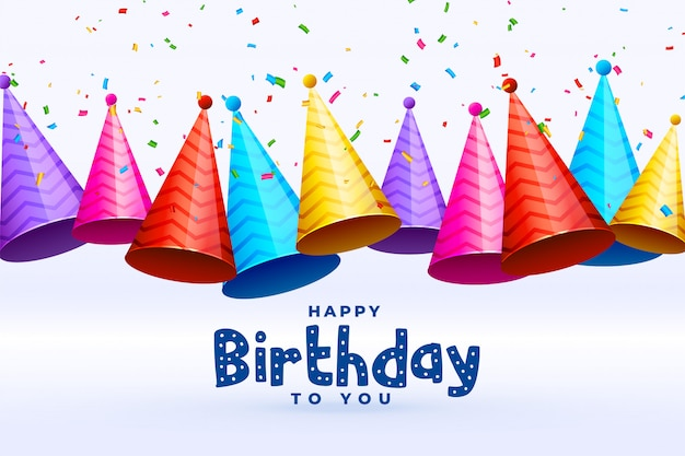 Birthday celebration caps in many colors background Free Vector