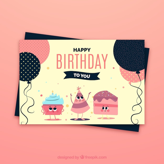 Birthday Celebration Card Vector Free Download