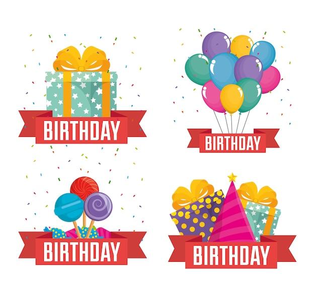 Birthday celebration set icons vector illustration design Premium Vector